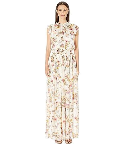 ML Monique Lhuillier Printed Flutter Sleeve Printed Maxi Dress (White Multi) Women