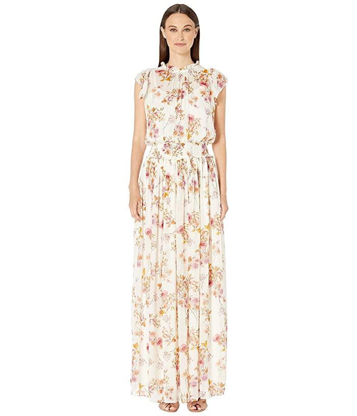 ML Monique Lhuillier Printed Flutter Sleeve Printed Maxi Dress (White Multi) Women