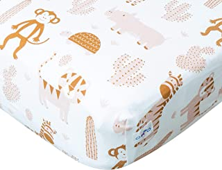 Orio Safari Jungle Animal Crib Sheet with Monkeys, Turtles, Zebras and Lions | Soft Cotton Fitted Crib Sheet