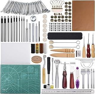 Outils de travail du cuir 110 Pcs Outils et fournitures de travail en cuir Outils de travail des outils en cuir pour estam...