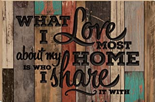 CELYCASY What I Love Most About My Home Is Who I Share It With Multicolor 23.75 x 35.9 Faux Distressed Wood Barn Board Wall Mounted Sign