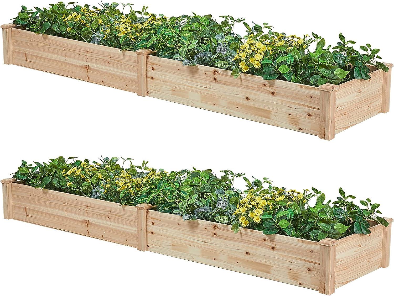 AMERLIFE Raised Garden Bed 8x2 Los Angeles Mall FT K Overseas parallel import regular item - Wood 2PC