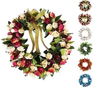 Baigio Woman 14inch Flower Wreath Handmade Artificial Floral Silk Wreath for Front Door Home Wall Wedding Decoration