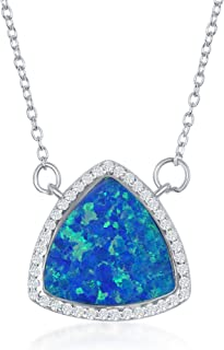 Beaux Bijoux Sterling Silver Created Blue/White Opal Triangle with Cubic Zirconia Border 18