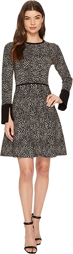 Vince Camuto - Long Sleeve Animal Jacquard Flared Sweater Dress