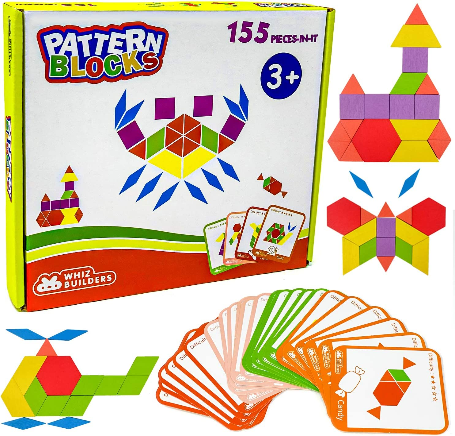 Wooden Max 69% OFF Pattern Blocks by WhizBuilders Dallas Mall Puzzle Tangram M Shape :