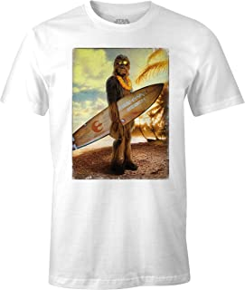 Star Wars Camiseta de Hombre Wookiee Chewbacca Surfer algodón Blanco