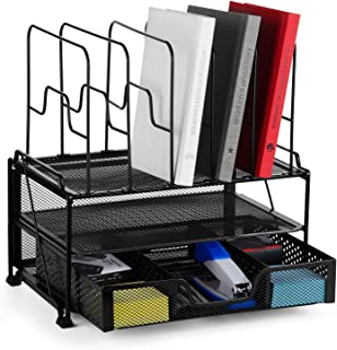 Bextsware 2-Tier Mesh Desktop Organizer File Folder with Sliding Drawer and 5 Removable Upright Sections, Document Letter Tray Holder Desk Organization for Office Home School Supplies