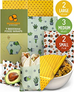 HUNNYBEE Reusable Beeswax Food Wrap (7 Packs), Zero Waste, Beeswax Wrap, Eco Friendly, Organic, Bees Wax Food Storage Wrappers Cling Sandwich, Alternative To Plastic Bags, Sustainable Products