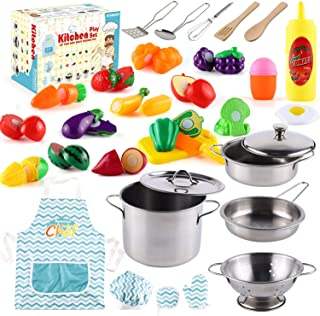 35 Pcs Kitchen Pretend Play Accessories Toys,Cooking Set with Stainless Steel Cookware Pots and Pans Set,Cooking Utensils,...
