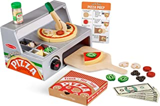 "Melissa & Doug Top and Bake Wooden Pizza Counter Play Food Set (Pretend Play, Helps Support Cognitive Development, 34 Pieces, 7.75"" H x 9.25"" W x 13.25"" L)"