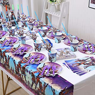 Video Game Party Supplies Includes Tablecloth, Party Hats, Trumpets, Plates, Paper Cups, Straws, Napkins, Knives, Forks, S...