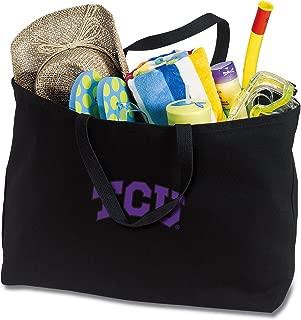 Broad Bay Jumbo TCU Tote Bag or Large Canvas Texas Christian University Shopping Bag