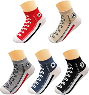 Men's Ankle Socks, 5 Pairs Colorful Crew Socks, Regular Size Nice Box, Two Color