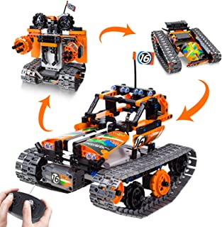 3-in-1 STEM Remote Control Building Kits-Tracked Car/Robot/Tank, 2.4Ghz Rechargeable RC..