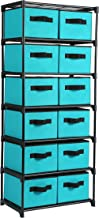 Homebi Storage Chest Shelf Unit 12-Drawer Storage Cabinet with 6-Tier Metal Wire Shelf and 12 Removable Non-woven Fabric Bins in Turquoise,20.67