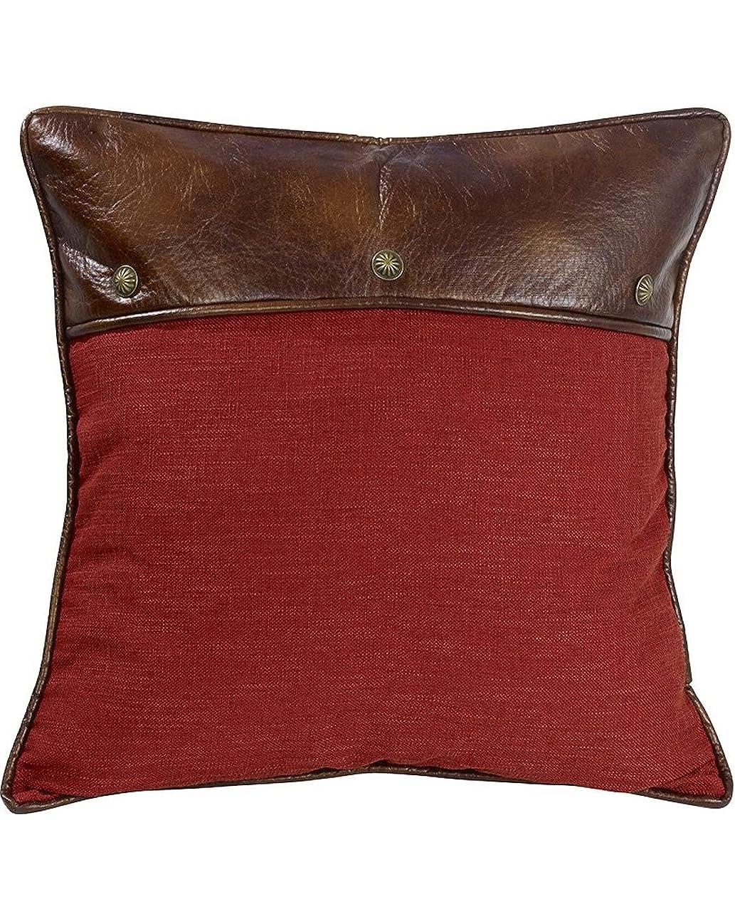 そばに誰が教育するHiEndアクセントレッドユーロ枕with Fauxレザーとコンチョ One Size WS4066ES