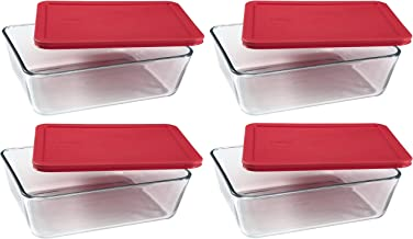 PYREX Containers Simply Store 6-cup Rectangular Glass Food Storage Red Plastic Covers ... (Pack of 4 Containers)