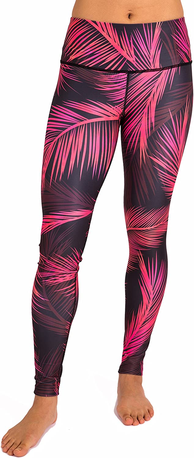 Inner Fire Women's Yoga Pants – Flexible, Breathable, High Waisted, EcoFabric (Palm Sunset)