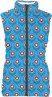 Rainbow Rules Captain America Logo Avengers Superhero Inspired Womens Puffer Vest Bodywarmer Gilet