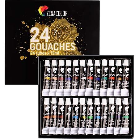 Zenacolor - Pittura a Tempera in Tubetti - Scatola da 24 Colori, Alta qualità, Qualsiasi Supporto per Principianti e Artisti - Tempo Libero (24 x 12 ml)