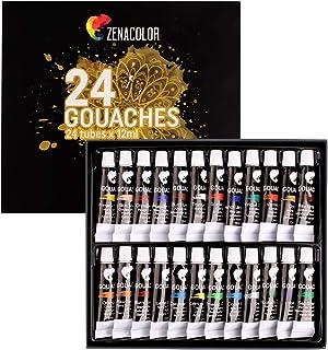 Zenacolor - Pittura a Tempera in Tubetti - Scatola da 24 Colori, Alta qualità, Qualsiasi Supporto per Principianti e Artis...