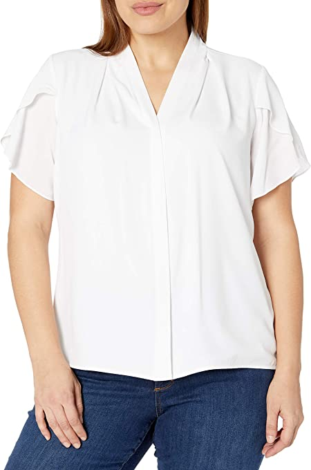 Calvin Klein Women's Plus Size Short Sleeve V-Neck Top