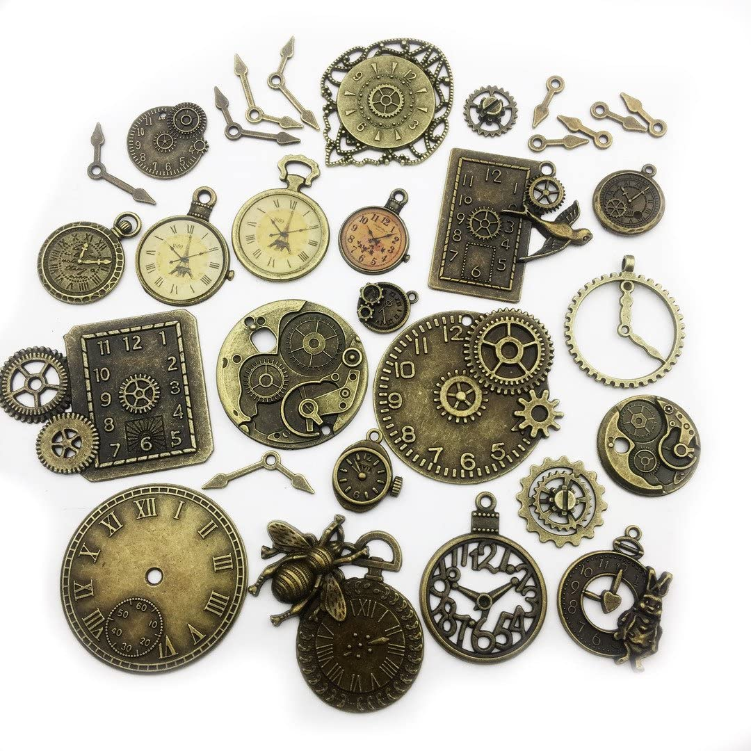 medaillon copper metal jewelry sheet filigree necklace bronze czech glass brown-yellow Steampunk Clock Cabochon Amulet handmade