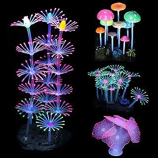 Mogokoyo 4 Stück Aquarium Pflanzen Leuchtende Korallen & Wasserpflanzen künstlich Pflanzen für Fisch Tank Aquarium Dekoration (#1- Pilz + Seeanemone + Kurze Koralle + Hohe Koralle)
