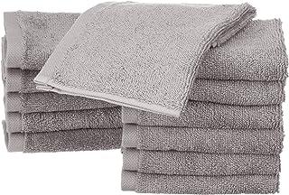 Amazon Basics Lot de 12 petites serviettes en coton, Gris