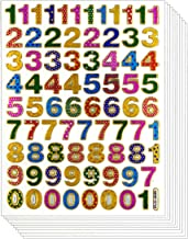 Colorful 0-9 Number, 10 Sheets Self-adhesive Glitter Metallic Foil Reflective Sticker Decorative Scrapbook for Kid, Birthday Party, Photo, Card, Envelope, Diary, Album. EACH Number 0.5 Inches High
