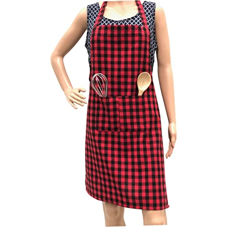 Pixel Home Cotton Checks with Front Center Pocket Design Apron (Red)