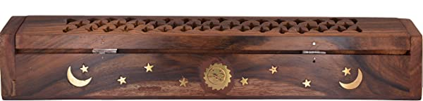 Cavelio Rose Wooden Coffin Incense Burner Jali And Sun Moon Stars12 Brass Inlays Storage Compartment EL 4 1