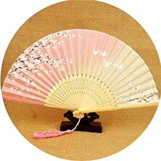 Vintage Chinese Folding Fan Bamboo Silk Fan Hand Held Flower Printing Home Decoration Crafts 27,color14