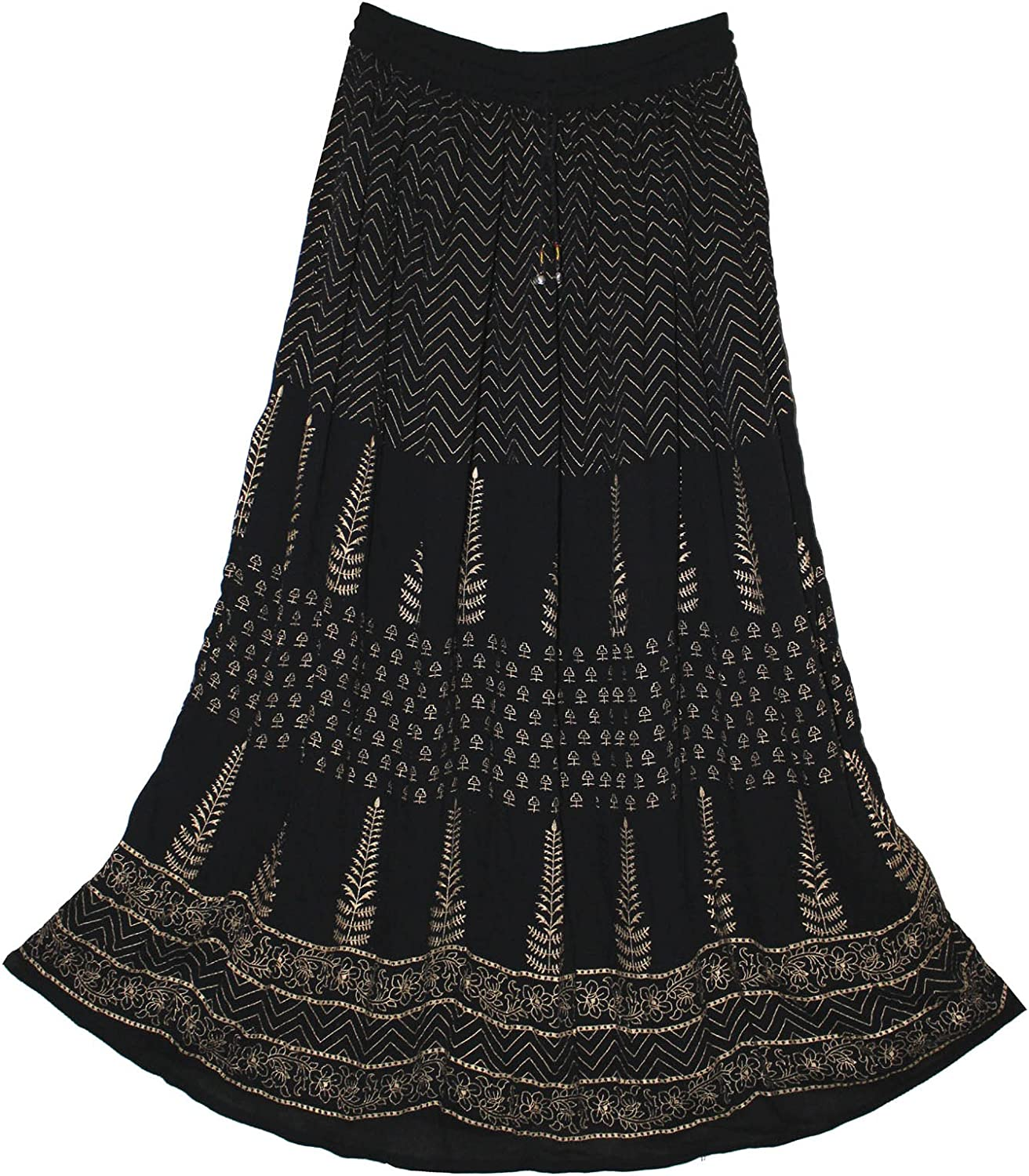 Fashion of India JNB Womens Indian Crinkle Broomstick Gypsy Long Skirt Ethnic Black