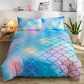 Namoxpa Mermaid Fish Scales Duvet Cover Set, Magical Colorful Seamless Pattern with Fish Scale net,Blue Pink Mermaid Skin ...