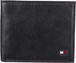 Tommy Hilfiger Men's Leather Slim Billfold Wallet, Dark Black, One Size