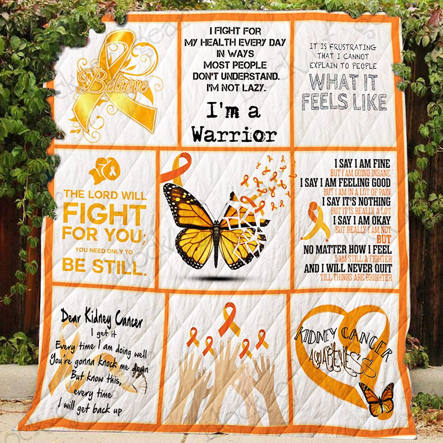 Kidney Cancer Awareness Quilt P383, Queen All-Season Quilts Comforters with Reversible Cotton King Queen Twin Size - Best Decorative Quilts-Unique Quilted for Gifts
