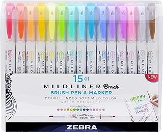 Zebra Pen Mildliner Double Ended Brush and Fine Tip Pen, Assorted Colors, 15-Count