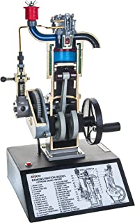 """Eisco Labs 4 Stroke Diesel Hand Crank Model with Actuating Movable Parts to Demonstrate Engine Basics - 16"""" Tall"""