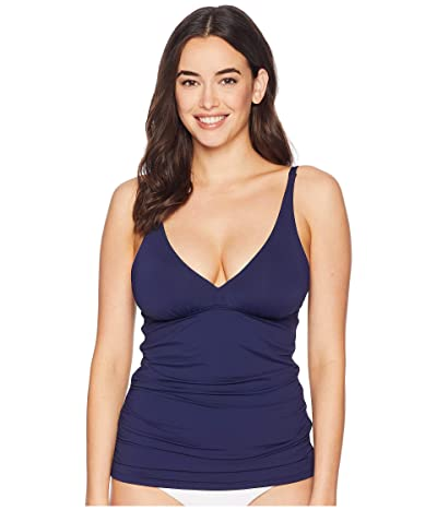 Tommy Bahama Pearl Over the Shoulder V-Neck Long Tankini (Mare Navy) Women