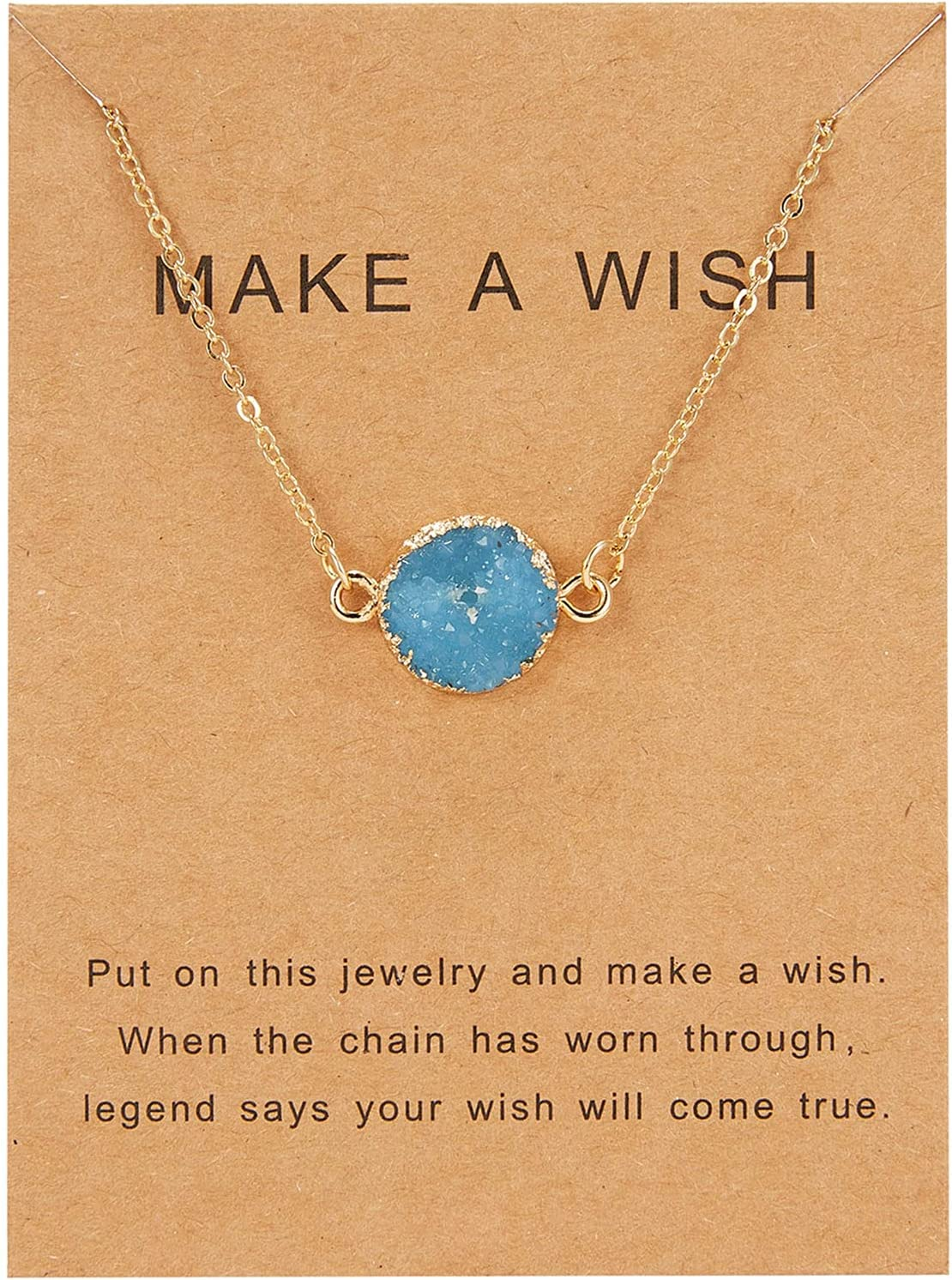 Tuscom Women's Moon Necklace Natural Stone Pendant Personalized Necklace Friendship Necklace Temperament Clavicle Chain Jewelry (Light Blue#2-1pc, 0.8x0.8/ 2x2cm)