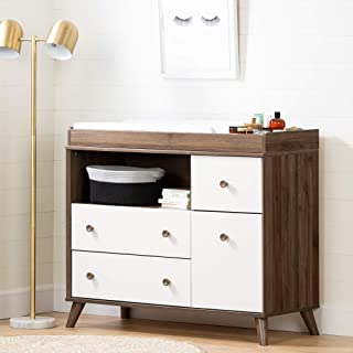 South Shore Yodi Changing Table with Drawers-Natural Walnut and Pure White
