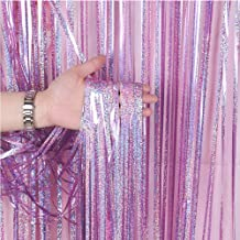 BTSD-home Holographic Pink Laser Foil Fringe Curtain, Metallic Photo Booth Tinsel Backdrop Door Curtains for Wedding Birthday Baby Shower Bachelorette Party Decorations(4 Pack, 12ft)