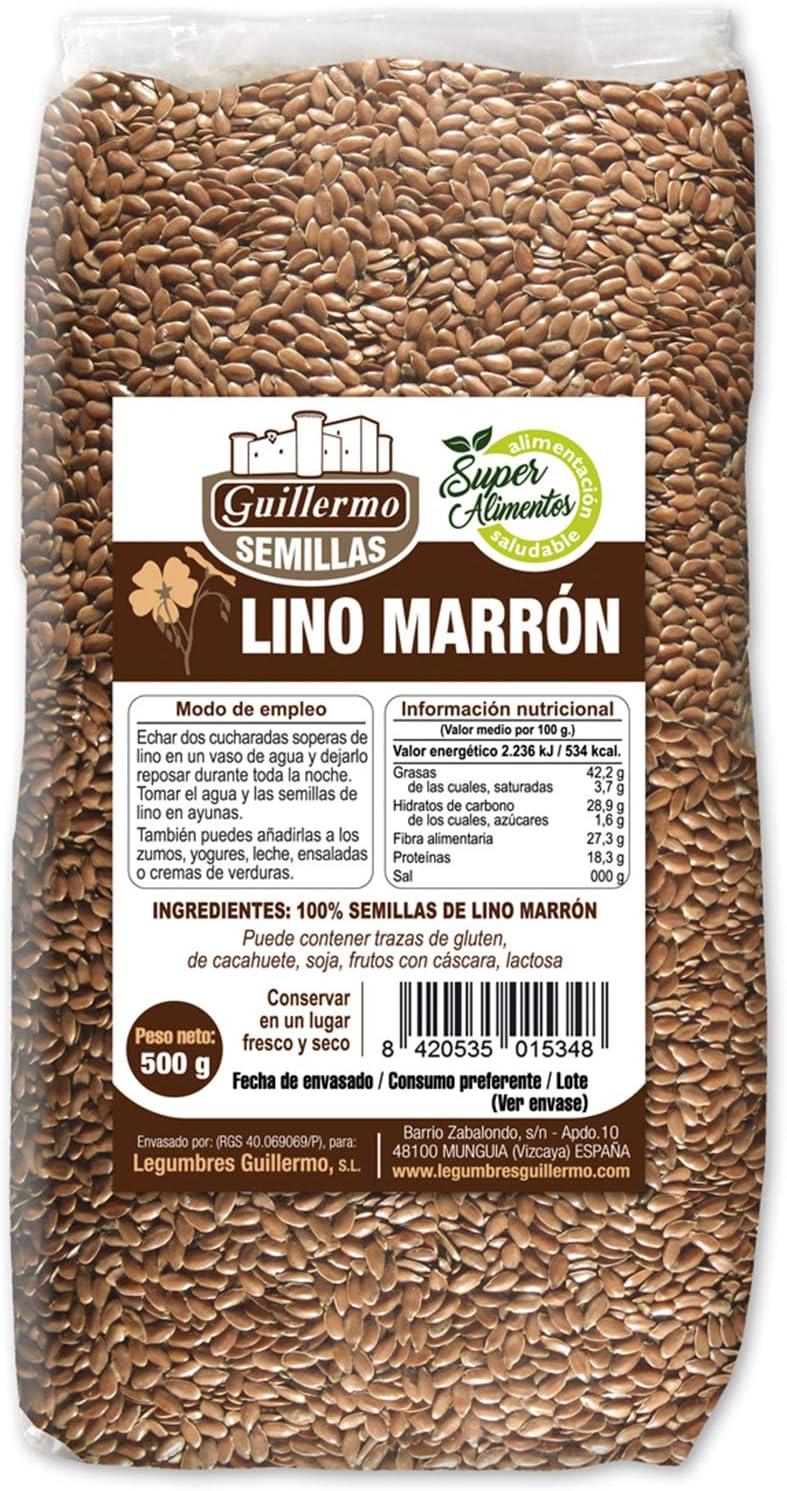 Guillermo Semillas de Lino Marrón Superalimento Linaza 100% Natural 500gr