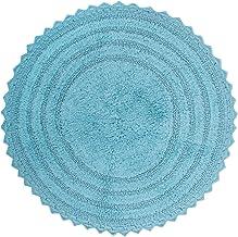 "DII 100% Cotton Crochet Round Luxury Spa Soft Bath Rug, for Bathroom, Vanity, and Dorm Room - 28"", Cameo Blue"