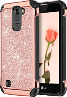 LG K7 Case, LG K8 Case, LG Treasure LTE Case, LG Tribute 5 Case, LG Escape 3 Case, LG Phoenix 2 Case, LG K373 Case, DUEDUE Glitter Sparkly Bling Cute Shockproof Protective Phone Cover, Rose Gold