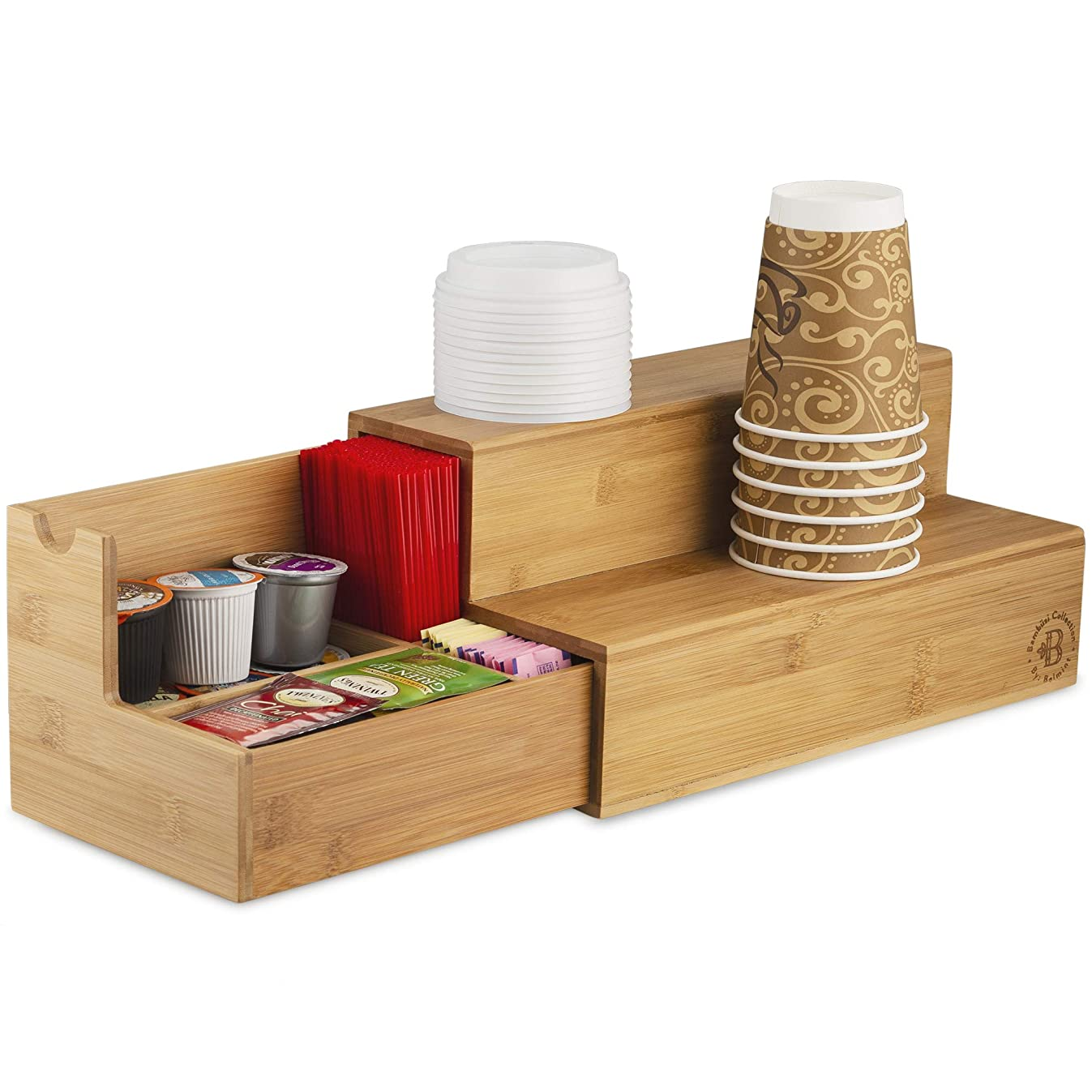 Coffee Tea Organizer Station - Bamboo Condiment and Accessories Caddy Organizer | for Kitchen and Office Organization