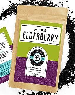 Birds & Bees Teas - Dried Elderberries Organic - 1 lb Bulk, Makes Great Black Elderberry Tea and Sambucus Nigra is Known f...