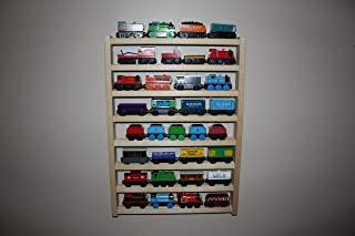 Train Rack Tall - Thomas Train Wooden Storage Display Wall Rack Shelf Play Table Accessory Case for Brio Chuggington Melissa and Doug